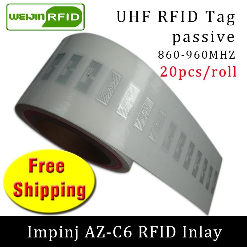UHF RFID Tag Sticker Impinj MR6 AZ-C6 Wet Inlay 915m868 860-960mhz EPC 6C 20pcs Free Shipping Self-adhesive Passive RFID Label