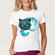 Nuovo ragazza di harajuku T-Shirt belle donne t-shirt Avventura di Alice nel Paese Delle Meraviglie Cheshire disegno Magliette