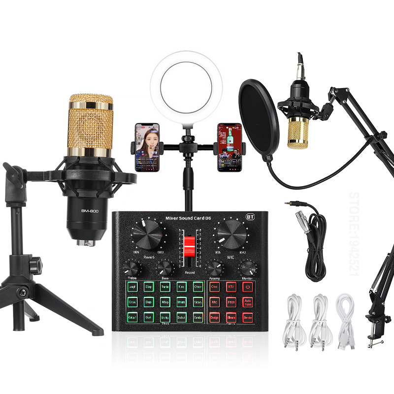 BM800 Microphone D6 Sound Card Mixer Condenser Led Ring Light Phone live Stream Game Tripod Stand USB BT Recording Professional