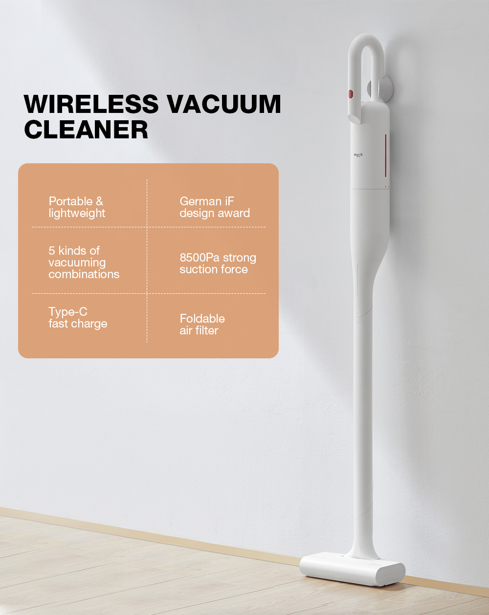 Deerma VC01 Wireless Vacuum Cleaner 43800rpm 8500Pa 30min Long Endurance 5 Vacuuming Combinations