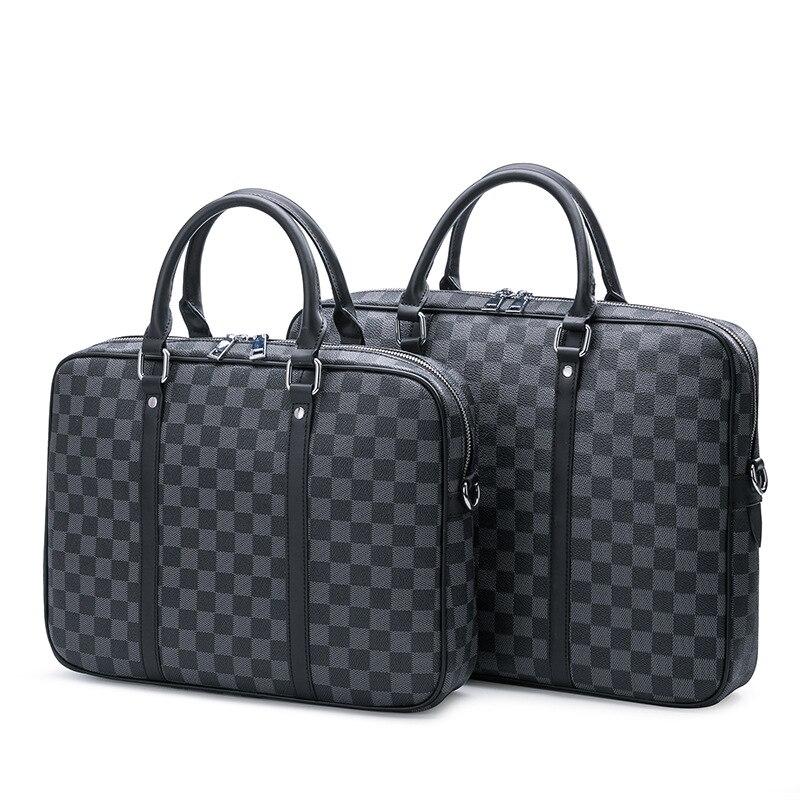 2019 Men Briefcase New Soft Leather Handbags Men's Casual Bag Shoulder Messenger Bag Crossbody Bags Man Laptop Computer Plaid