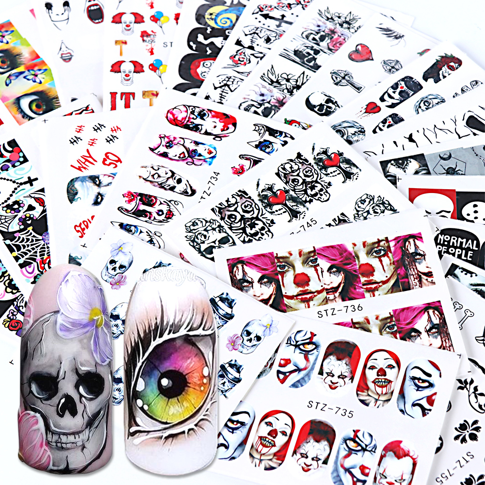 24pcs Black Skull Nail Wraps Water Decals Red Sliders Halloween Eyes Clown Zombie Decoration Manicure Tools Tattoo BESTZ731-755