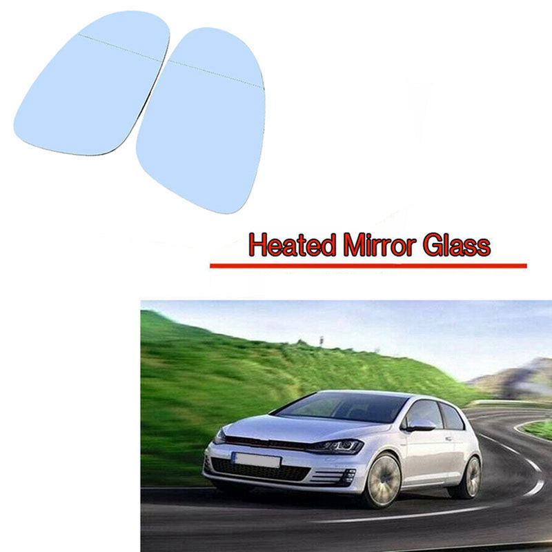 Driver/Passenger Side Wing Heated Mirror Glass Blue Heated Replacement for VW Golf MK5 Jetta Passat RABBIT 3C0857521 3C0857522|Auto Glass| |  - title=