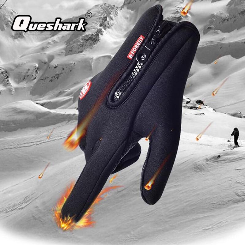 Queshark Men Women Ski Gloves Winter Warm Skiing Gloves Outdoor Sports Touch Screen Waterproof Anti-slip Gloves 5 Asian Sizes