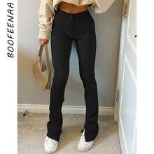 BOOFEENAA Street Style Split spodnie dresowe damskie wysokiej talii spodnie Flare Y2k solidna kolorowa bawełniana spodnie czarne brązowe biegaczy C84-CG31