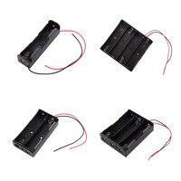 Plástico preto 1x2x3x4x18650 caixa de armazenamento da bateria caso 1 2 3 4 slot maneira diy baterias clipe titular recipiente com fio chumbo pino| |   -