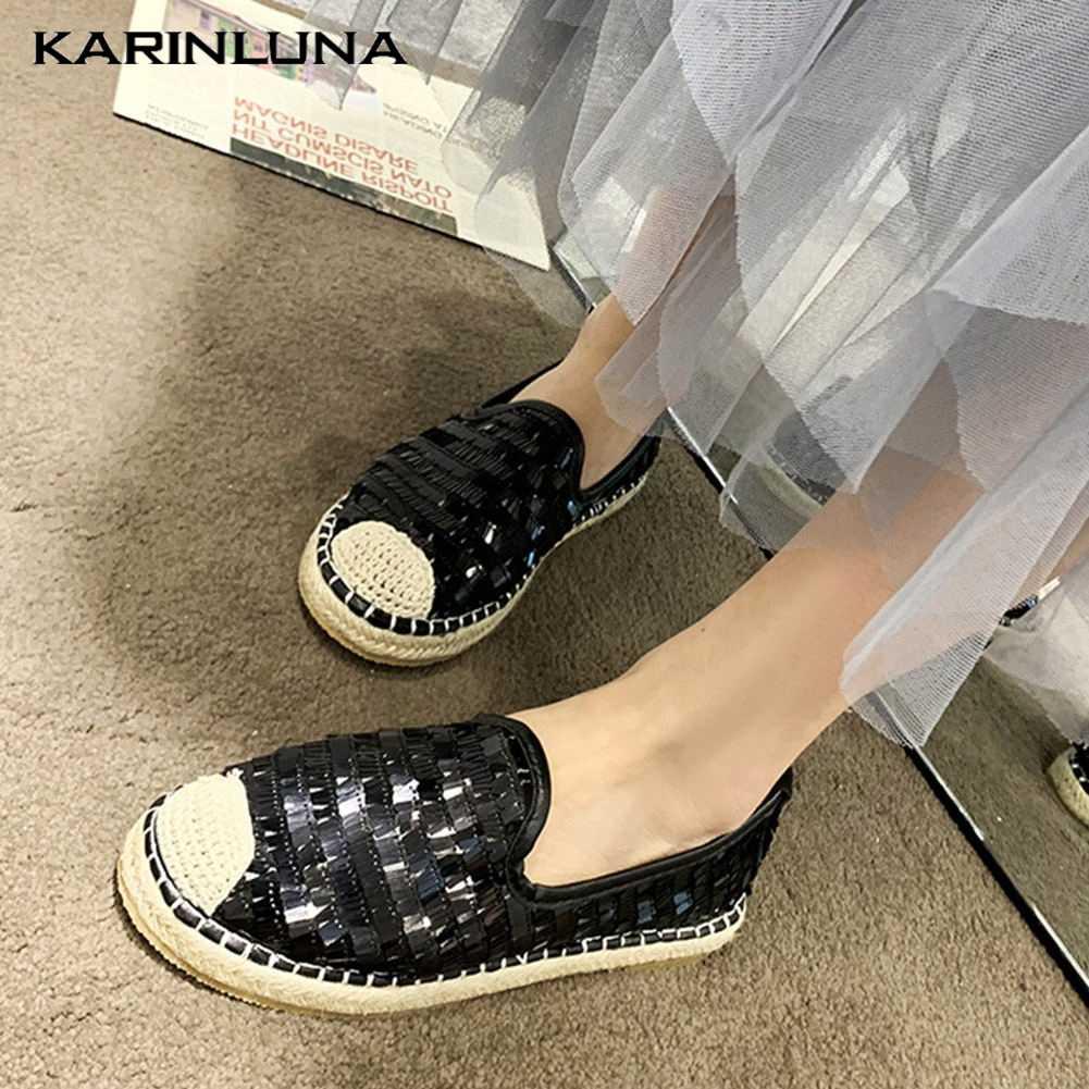 KarinLuna 2020 yeni gelenler akın kadın Flats yuvarlak ayak düz Bling yaz rahat kadın botları