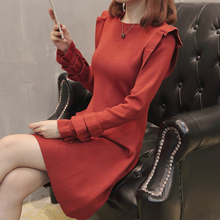 Casual Jumper Sweaters Dress Winter Autumn 2019 Womens Long Sleeve Solid Ruffles Mini Women Black Elegant Knitted