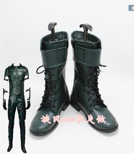 Green Arrow Oliver Queen Cosplay Boots Green Arrow Season 4 Superhero Shoes Custom Made Adult Men Cosplay Battle Boots Halloween image