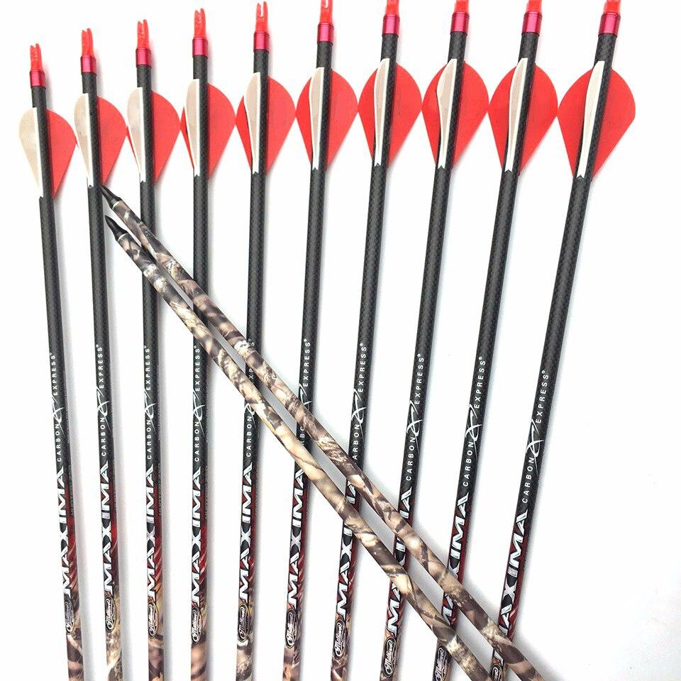 6/12 adet okçuluk saf karbon oklar spine400 1k örgü ID6.2MM 32 inç nokta 75gr kamuflaj okları bileşikleri yay avcılık