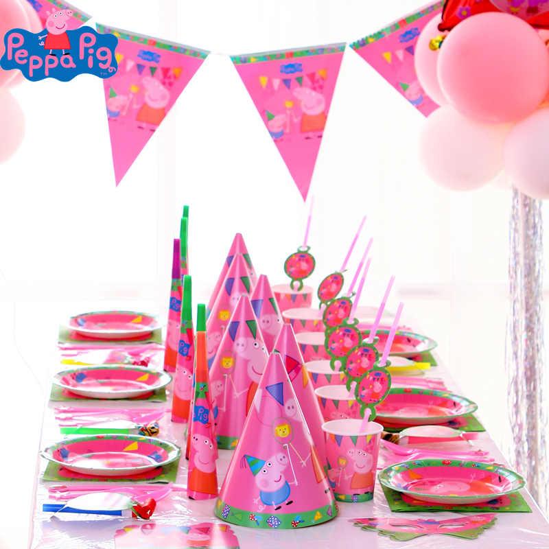 Peppa Pig Verjaardagsfeestje Sets Peppa Pig Toys Anime Party Decoratie Benodigdheden Cup Hoed Lepel Activiteit Kids Verjaardag Geschenken Christma