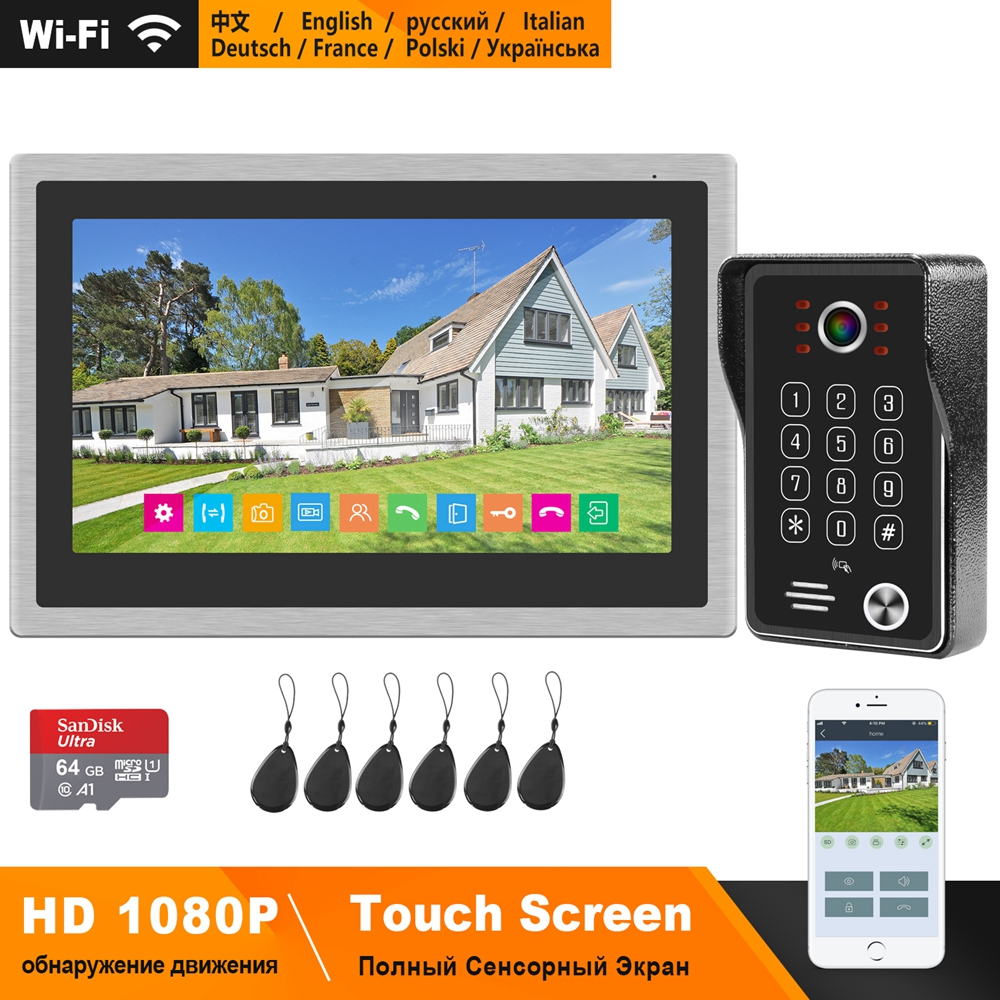 HomeFong WIFI Intercom System Wireless Video Door Phone for Apartment 10 inch Touch Screen 1080P WiFi Doorbell Motion Detection(China)