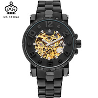 Men Watches Golden Skeleton Clock Mechanical Male Wrist Watch Mens Sport Black Relogio Masculino Automatic Zegarek Meski ORKINA