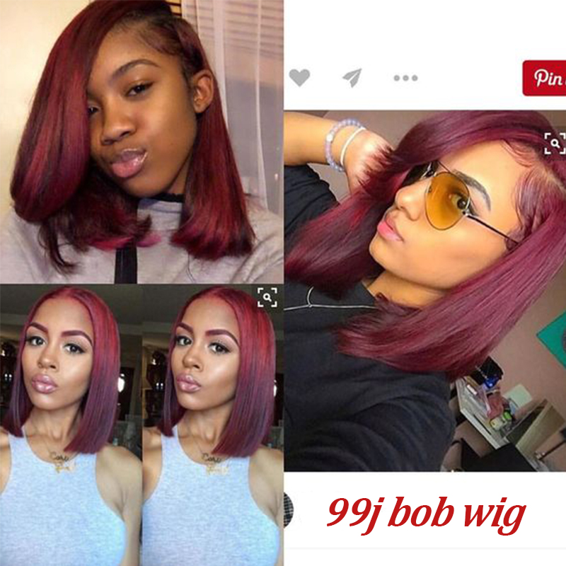 H7c08d7f42618483187b9d8f63491d89eB Brazilian Straight Hair Remy Red Bob Wigs Burgundy 13X4 Lace Front Wig With Baby Hair Pre Plucked Short Human Hair Wigs Remyblue