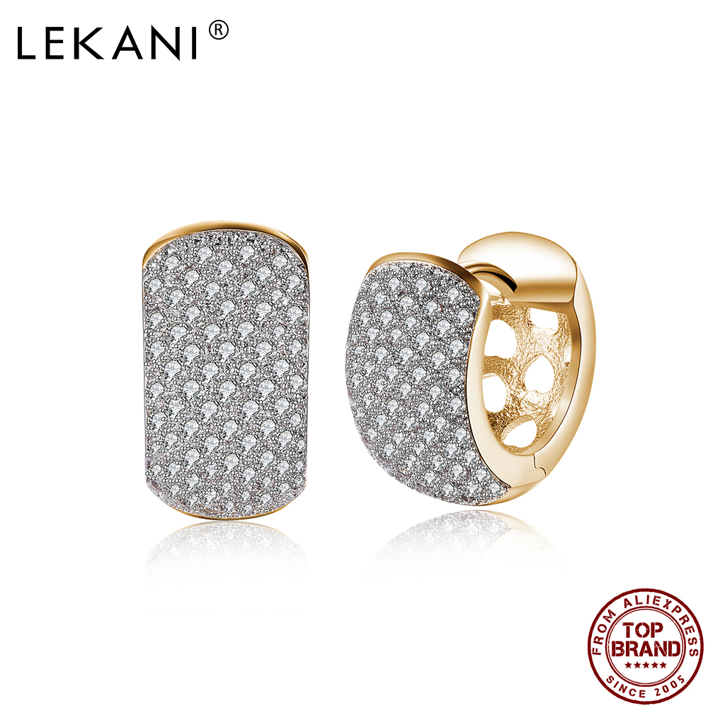 LEKANI Hollow Wide Thick Round Hoop Earrings Women Full White Cubic Zirconia Champagne Gold Earring Anniversary Fashion Jewelry