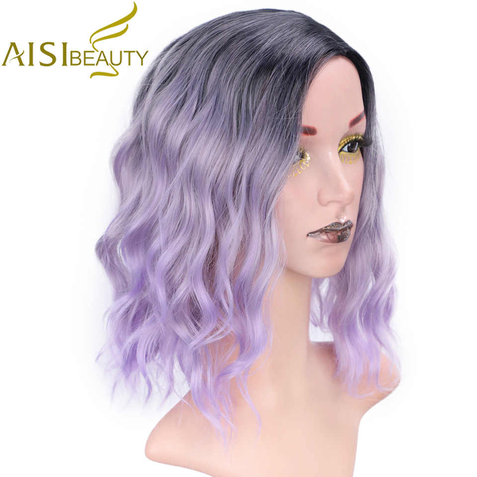 AISI BEAUTY Ombre Purple Short Wig 14 inch Water Wave Synthetic Wigs for Women Pink Blonde Gray Cute Cosplay Female False Hair