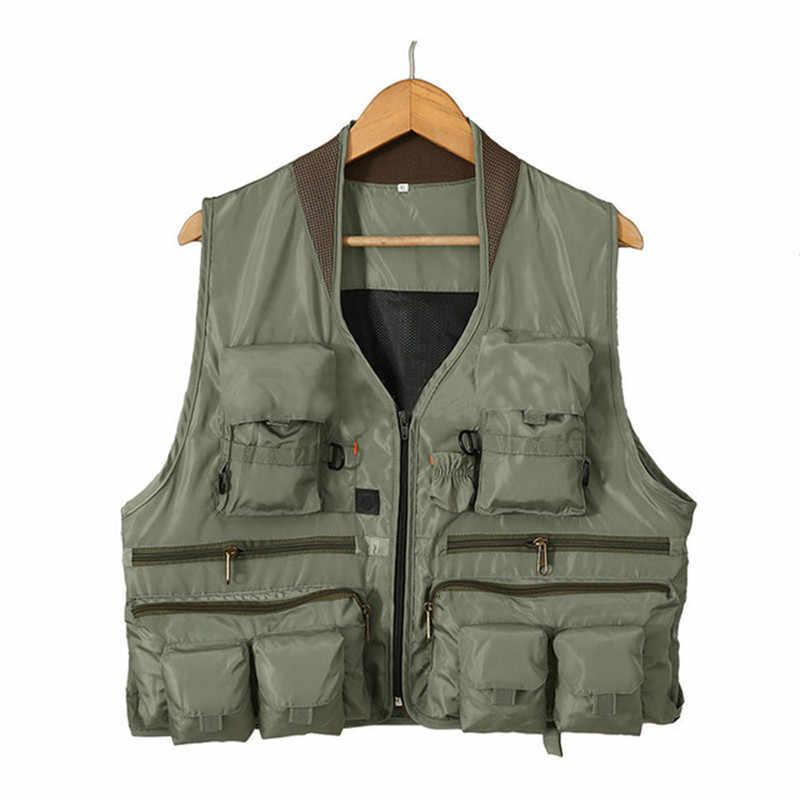 الرجال متعددة جيب سترة الرجال سريعة الجافة رقيقة شبكة التصوير سترات الذكور متعددة الوظائف في الهواء الطلق الصيد صدرية البضائع معاطف L-XXL
