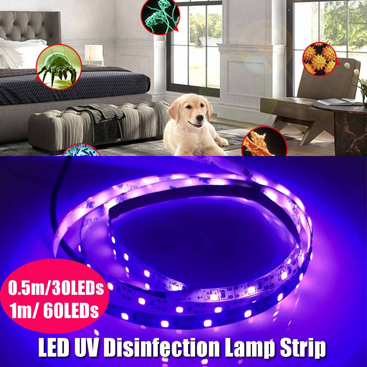 Ultraviolet Disinfection Lamp Germicidal Light Strip Household Germicidal USB Charging LED Sterilizer UVC Sterilizer Light