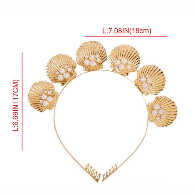 Gelin saç çember kadın kız tatil Styling Bobby Pin deniz tarzı altın kabuk tiara taç tarak ile sahte inci boncuklu düğün