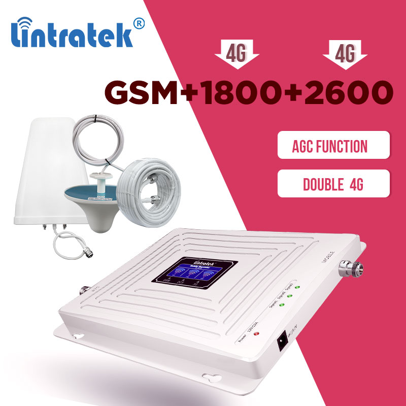 Lintratek GSM 2G 3G 4G 900 1800 2600mhz Cellular Amplifier GSM 900mhz DCS 1800mhz LTE 2600mhz  Signal Booster Repeater Set AGC 8
