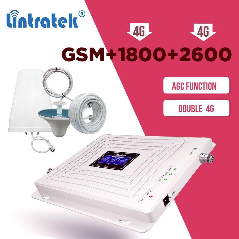 Lintratek GSM 2G 3G 4G 900 1800 2600mhz Cellular Amplifier GSM 900mhz DCS 1800mhz LTE 2600mhz  Signal Booster Repeater Set AGC 8