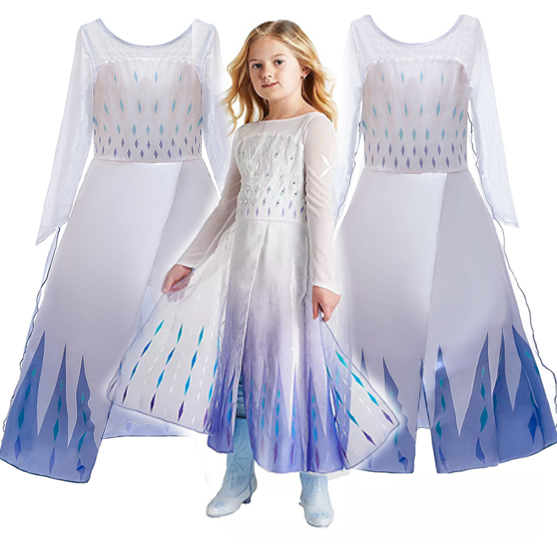 Popular Princess Ice And Snow Movie 2 Elsa Role Play  Party Dress Queen Girls Dress Anna Elsa 2 Cosplay Costume Kids Dress