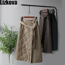 Winter Midi Skirts Women Black Quilted High Waist A-line Skirt