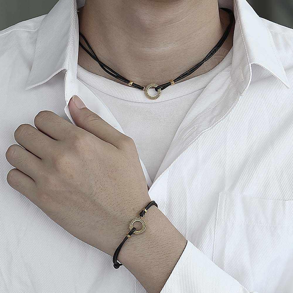 Unikatowy nowy zwykłym skórzanym Choker bransoletka naszyjnik zestaw dla mężczyzn kobiety złoty urok regulowana lina łańcuch biżuteria na szczęście zestawy TSL001