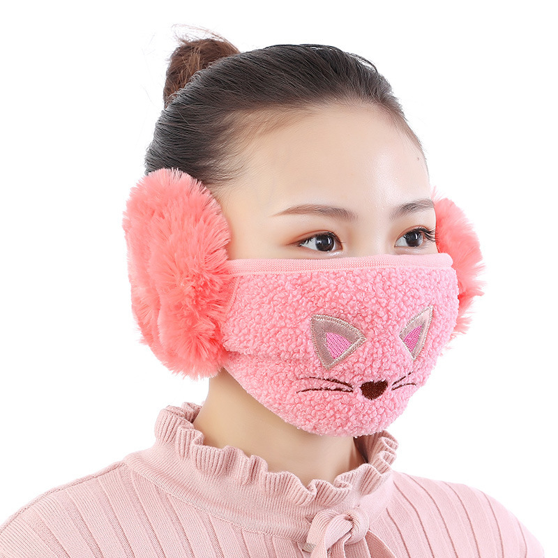 Cute Cat Mouth Mask With Earmuff Fashion Girl Meow Mouth-muffle Winter Warm Masks Anti Haze Cotton Face Mask With Ear Protection