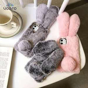 Pink Cartoon Winter Plush Rabbit For iPhone 7 6 6s 8 Plus X XR XS cover For Apple 11 Pro Max case 3D Cute Fashion Designer Shell(China)