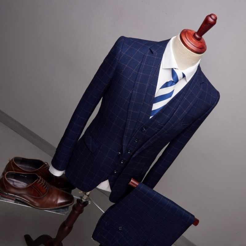 Klassische 3 Stück Jacke Hosen Weste Männer Anzüge 2020 Slim Fit Plaid Bräutigam Hochzeit Kleid Formal Business Fashion Party Kleid männlichen