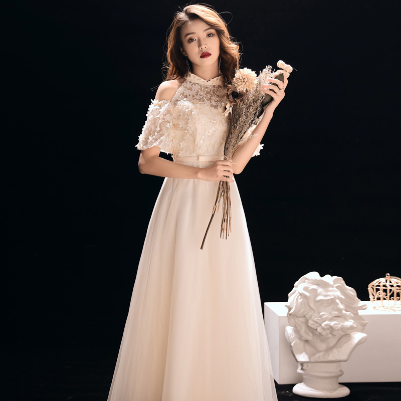2020 Vestido De Festa Party Dress, 2020 New Autumn And Winter Bridesmaid Dresses Dress Hanging Elegant Long Neck Host Name Yuan