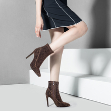 Women Ankle Boots Zip Type Pointed Toe 10.5CM High Heels Glit Pump Thin Dress Party Shoes BT3