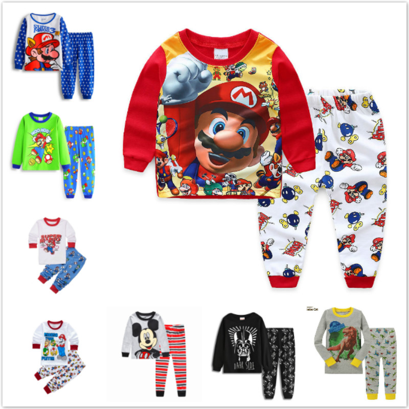 Children's Clothing Sets Baby Boys Toddler Super Mario Sleepwear Kids Nightwear Pajamas Set Girls Cotton Cartoon Pyjamas Pijamas