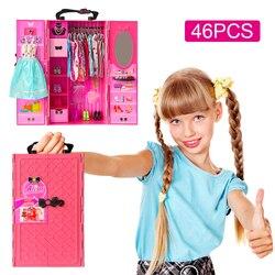 Ucanaan boneca armário com acessórios de boneca para roupas de boneca barbie, sapatos de boneca no guarda-roupa de boneca