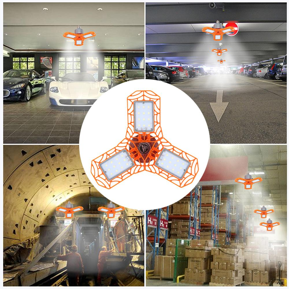 60W Super Bright Garage Light Industrial Lighting E27 LED Light Bulb Folding Industrial Lamp Workshop Pendant Lamp Floodlight