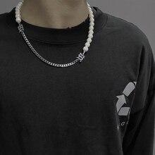 Ожерелье-чокер с перламутровыми буквами s INS, нишевый дизайн, мужское модное красное ожерелье в стиле хип-хоп, A02-23