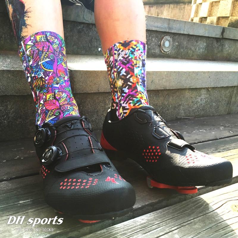 7 Colors Unisex Professional Cycling Socks Colored Printing Sport Socks Men Women Summer Anti-slip Cycling Running Football Sock