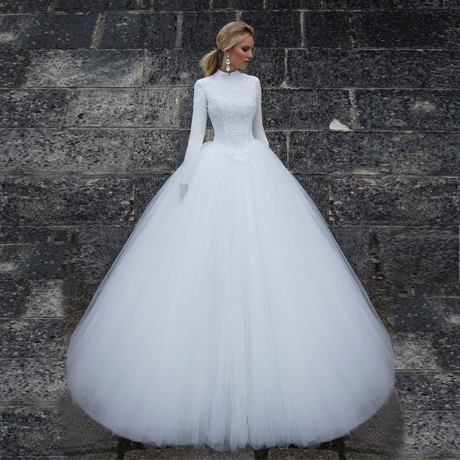High Neck Muslim Style White Ball Gown Weding Dress Long Sleeves Tulle Bridal Gownvestido De Noiva Sereia