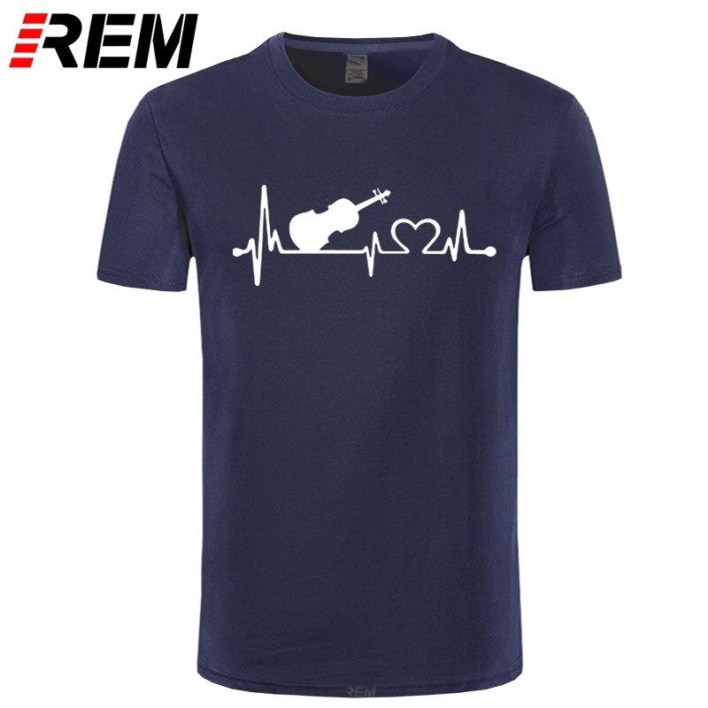 REM Custom Printed T Shirts Men's Short Sleeve O-Neck Tee The Violin Heartbeat T Shirt Top Quality Summer New Fashion