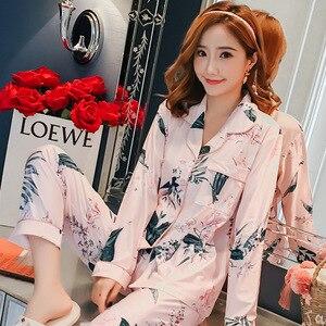 Image 5 - 2019 jesienne piżamy damskie zestawy z nadrukiem moda luksusowe kobiece dwa kawałki koszule + spodnie koszule nocne bielizna nocna miękkie Homewear