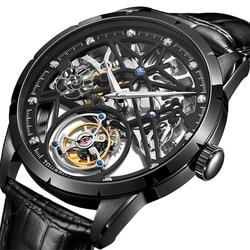 GUANQIN الهيكل العظمي توربيون ساعة رجال الأعمال الميكانيكية ساعة العلامة التجارية الفاخرة على مدار الساعة مقاوم للماء الياقوت Relogio Masculino