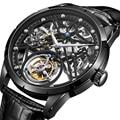 Reloj GUANQIN esqueleto Tourbillon reloj mecánico de negocios para hombres reloj de lujo de marca superior reloj de zafiro impermeable reloj Masculino