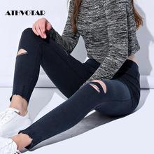 ATHVOTAR talla grande M-5XL agujero rasgado Jeans mujeres Jeggings Cool Denim alta cintura Skinny pantalones vaqueros lápiz Pantalones negro