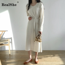 RealShe Sweater Women 2019 V-Neck Long Sleeve Sashes Cashmere Sweater Women Dress Winter Casual Loose Sweater Woman Pullover realshe long sleeve sweater women turn down collar buttons solid sweater women winter sweater woman pullover 2019 female sweater
