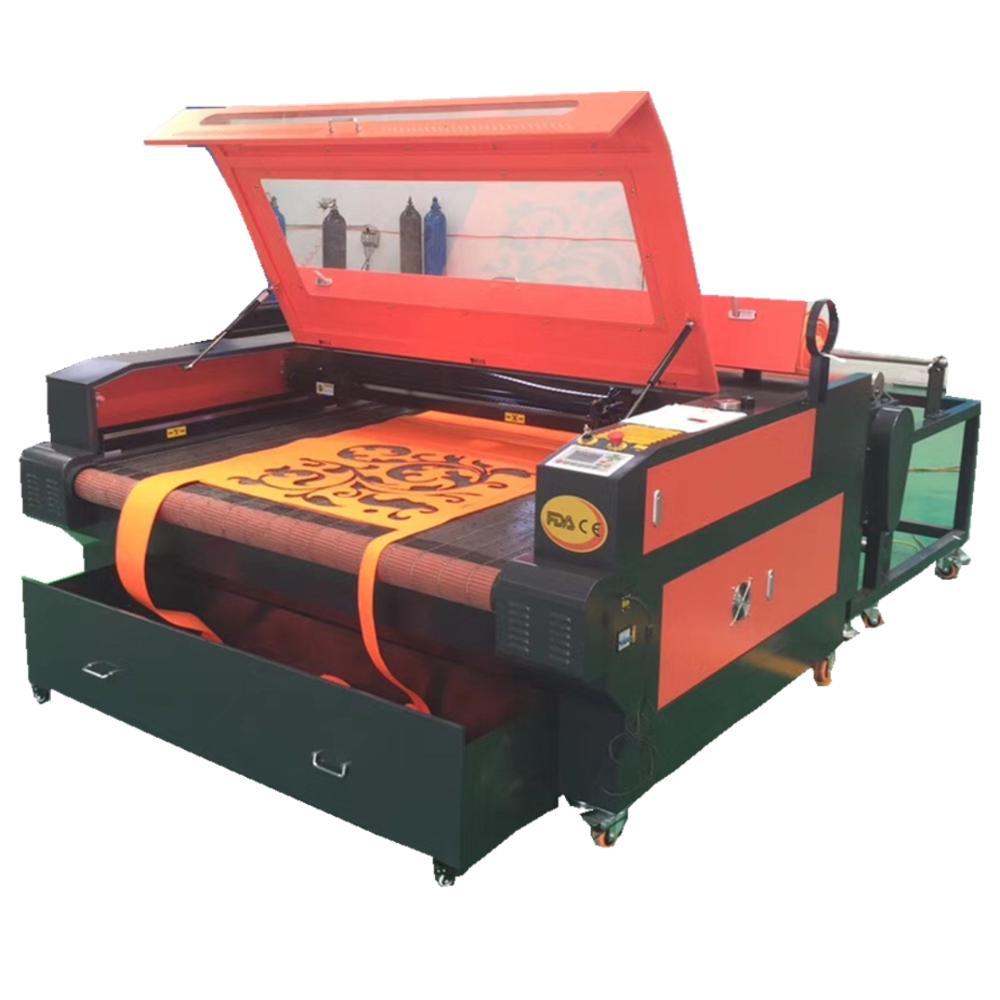 1610  Auto Feeding Table Laser Fabric Cutting Machine With Red Dot/CO2 Fabric Laser Cutter For Sale/100W Laser Fabric Machine
