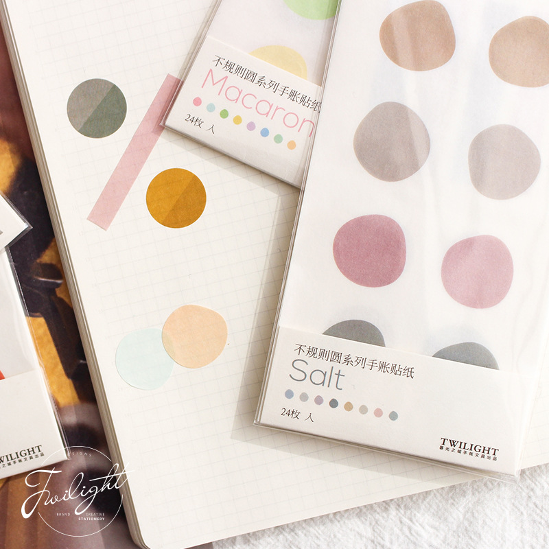 Irregular Circle Series Decorative Stickers Adhesive Writeable Stickers DIY Diary Stickers Stationery Scrapbooking Children Gift