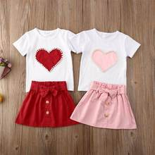 Новинка Модный хлопковый комплект для маленьких девочек футболка