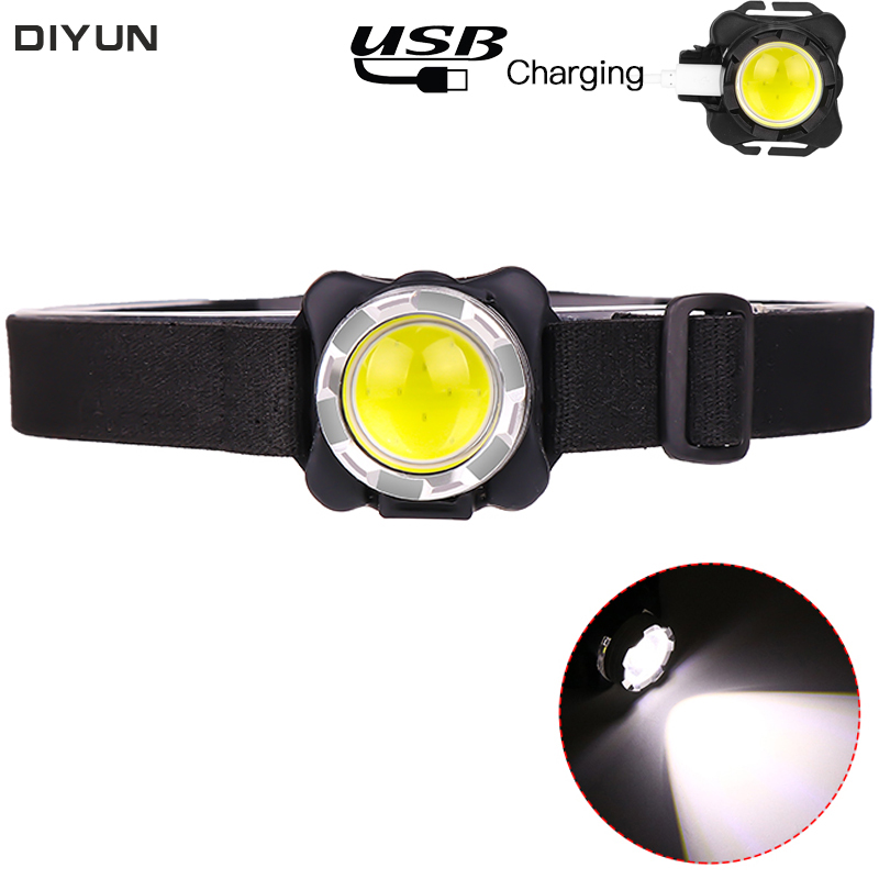 USB Rechargeable Built-in Battery 5000Lumens LED Headlamp COB Work Light 3light Modes Waterproof Headlight  For Fishing, Camping