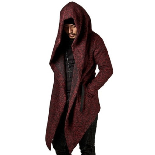 Autumn winter men rock trench coat long jacket cloak men vintage black Long hooded overcoat cardigan gothic style coats